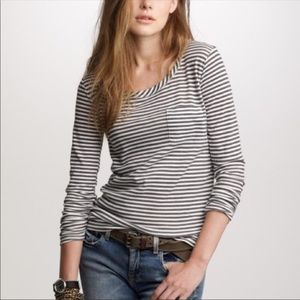 J. Crew brown white striped long sleeve